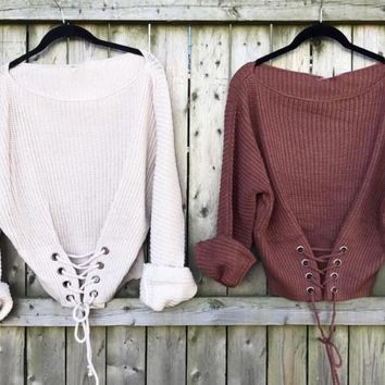 The Rust Kayla Sweater (right)