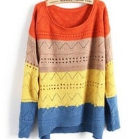 Loose Colorful Stripe Knitted Jumpers with Cut Out Design