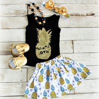Pineapple Lovin Outfit, Girls Pineapple Shirt, Sister Outfit, Girls Summer Outfit, Girls Skirt, Toddler Skirt, Baby Girl Clothing, Pineapple