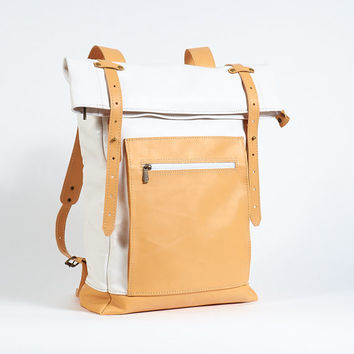 White and beige leather backpack. White leather backpack. Leather backpack women White backpack Roll top leather rucksack. Hipster backpack.