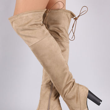 Suede Drawstring-Tie Chunky Heeled Boots