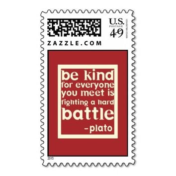 Red and White Kindness Plato Quote Postage Stamp