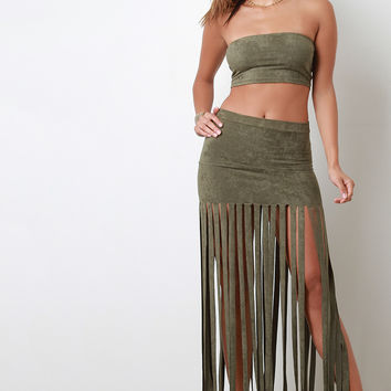 Vegan Suede Bandeau Fringed Two Piece Dress