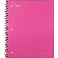 Staples® Accel Durable Poly Cover Notebook, Wide Ruled, Pink, 8 x 10-1/2