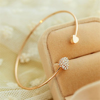 Chic Gold Plated Rhinestone Heart Shape Cuff Bracelet Bangle