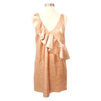 Rose Gold Metallic Ruffle Faux Suede Dress