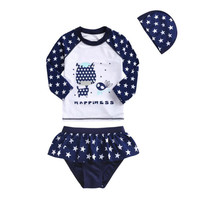 2016 Girls Swimsuit Children's Two Pieces Swimwear Set Baby Kids Long Sleeve Quick-Drying UV Protection Swimming Suit Beachwear