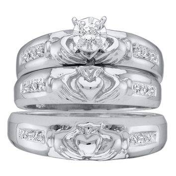 14kt White Gold His & Hers Round Diamond Claddagh Matching Bridal Wedding Ring Band Set 1/8 Cttw