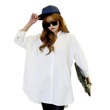 Korean Ladies Style Casual loose solid color blouse solid color
