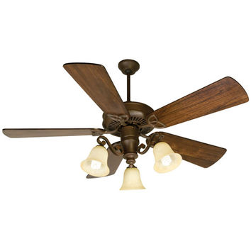 Craftmade K10674 CXL Aged Bronze Ceiling Fan with 54-Inch Premier Distressed Walnut Blades and Light Kit
