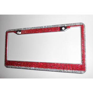 Red Crystal License Plate Frame w/Screw Cap Covers, 7 Row Red w/Silver Border Mega Bling Plate Frame, Crystal Car Accessory, Bling Car Decor