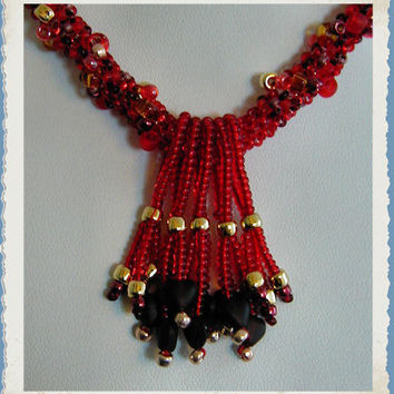 Vibrant Red Glass Heart Spiral Rope Beadwoven Neckace   ~Red Necklace~Heart Necklace~Beadwoven Necklace~Spiral Rope Necklace~Beaded Necklace