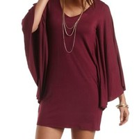 Bell Sleeve Shift Dress by Charlotte Russe - Burgundy