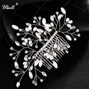 Miallo Ivory white Flower Bridal Hair Combs Wedding Handmade Pearls Hairpins Tiaras Headwear Jewelry Accessories