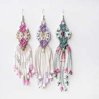 Long micro macrame earrings - Tassel Fringe Lilac Pink Sage Floral collection Unique Beadwork Bohemian Boho OOAK