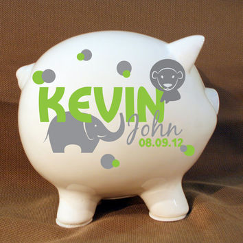 Jungle Animals Style Personalized Piggy Bank - Boys Custom Bank, Boys Birthday Gift, Baptism Present, Elephant, Monkey