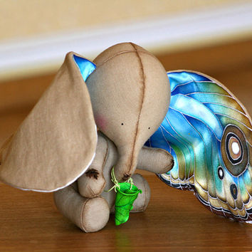 Art Toy The Elephant And The Dream -  Collectible One Of A Kind  Handmade Interior Doll