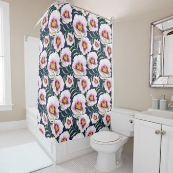 Sweet pink blue poppy vintage floral pattern shower curtain