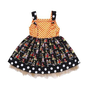 Arloneet girls dress halloween costumes for children Baby Girls Pumpkin Bow Party Dress Halloween Clothes tutu Dresses l0807
