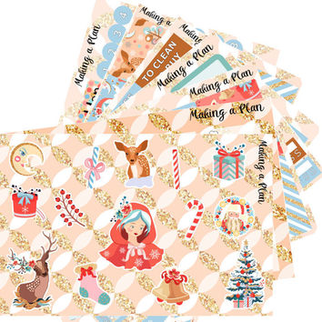 Magical Christmas  Vertical Kit Planner Stickers for use with ERIN CONDREN LIFEPLANNER