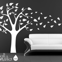 Tree Wall Decal Wall Sticker Tree Blowing in the by WallConsilia