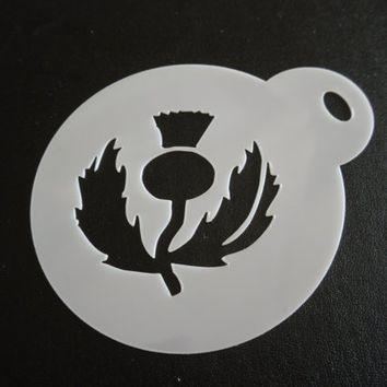 Unique bespoke new laser cut thistle cookie / face painting stencil