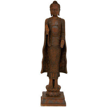 Oriental Furniture STA-BUD32 21 Inch Standing Semui - in Rust Patina Buddha Statue, Width - 5.5 Inches