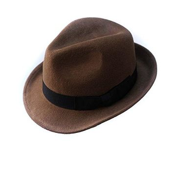 Trilby Hat Wool Felt Panama Fedora jazz Sun Beach style With Black band For Men's outfits (Brown)