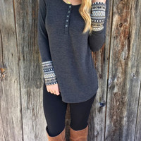Gray Printed Button-Up Long Sleeved Shirt