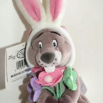 Licensed cool EASTER BUNNY GOPHER & FLOWERS Pooh FRIEND bean bag plush toy doll DISNEY STORE