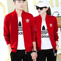 Adidas Women Men Couple Fashion Cardigan Jacket Coat Top Sweater Pants Trousers Set Three-Piece