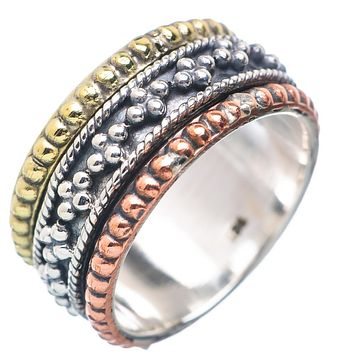 Spinner Ring - Three Tone Sterling Silver Milgrain Spinner