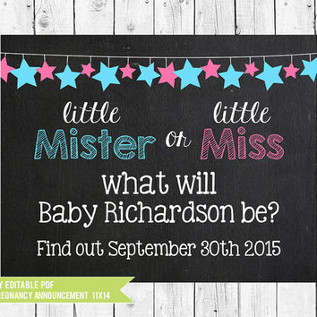 Chalkboard Pregnancy Announcement Printable  // Little Mister or Little Miss // 14x11//  Pregnancy sign // PDF you edit with ADOBE READER