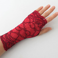 Red Wine and Black Lace Fingerless Gloves Wedding Gloves