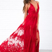 Top Of The Class Plunging Neckline Dress (Red)