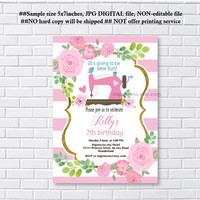 Sewing Birthday Invitations, gold Sewing Machine Birthday, sew fun, crafter invitations any age, 6th7th, 30th, 40th, 50th   - card 1239