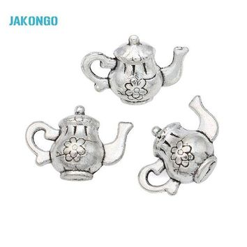 LMFIJ6 20pcs Hot Sale Antique Silver Tone Teapot Charms Pendants for Jewelry Making DIY Handmade Craft 17x12mm
