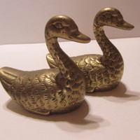 Bronze geese - bronze goose - brass geese - decorative geese figures- small geese- golden goose-animal statue-animal figures- bird statues