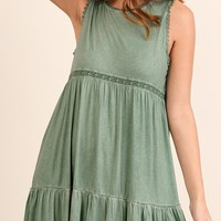 Green Washed Lace Detail Criss Cross Dress