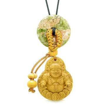 Magic Happy Buddha Car Charm or Home Decor Unakite Lucky Coin Donut Protection Powers Amulet