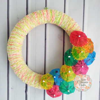 Summer Luau Yarn Wreath - Summer Yarn Wreath - Luau Wreath - Summer Party Wreath - Cocktail Umbrella Wreath - Yarn Wreath