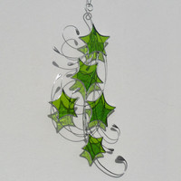 Lime Green Stained Glass Suncatcher, Lime Green Stars & Swirls Lightcatcher
