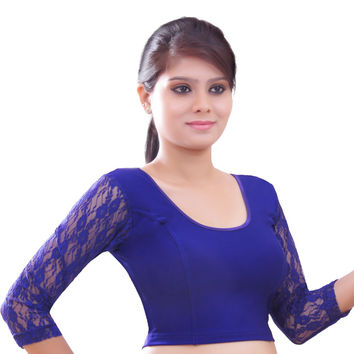 Stylish Long Lace Sleeve Royal Blue Sari Blouse Crop Top - SNT-A-12