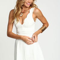 Ivory Scallop Plunge Flare Dress - LoveCulture
