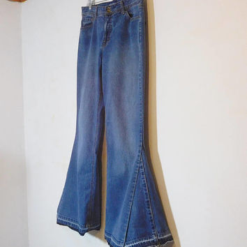 Bell Bottom Jeans, Upcycled Clothing, Hippie Clothes, 70s, High Waisted, Wide, Super Flare, Boho, Low Waist, Plus Size, Size 16, Blue Denim