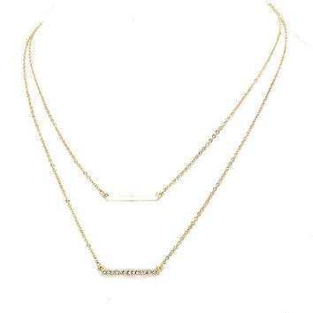 Dainty Double Layered Thin Gold Bar Rhinestone Pendant Necklace