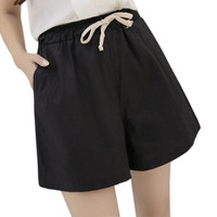 shorts women 2016 women shorts summer style hot loose linen casual thin mid black White plus size S-3XL short feminino