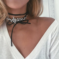 Wrapped Flower Gem Choker