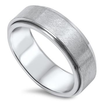 Stainless Steel Spinner Unisex Wedding Band Ring Comfort Fit 7mm