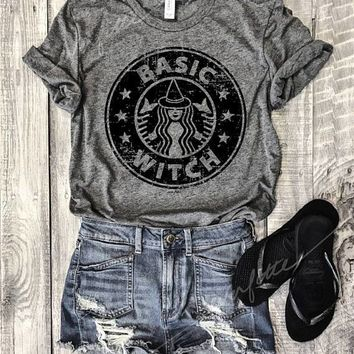 Hillbilly HALLOWEEN BASIC WITCH Grey Unisex Tee Funny Pet Shirt Starbucks Pumpkin Spice Halloween Witches Boos Coffee Latte
